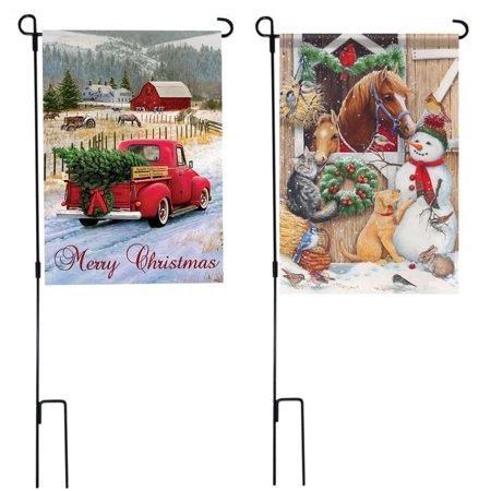 Moaere 45''X15'' Iron Mini Garden Flags Pole Stand Holder Yard Decor Display](Yard Displays)