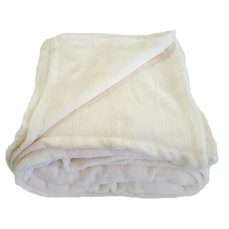 Coral Fleece Throw Blanket Soft Elegant Cover Full (Crib Throw Cream)
