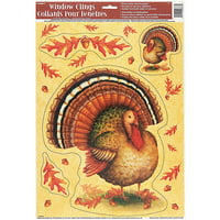 Festive Turkey Thanksgiving Window Cling Sheet, 1ct