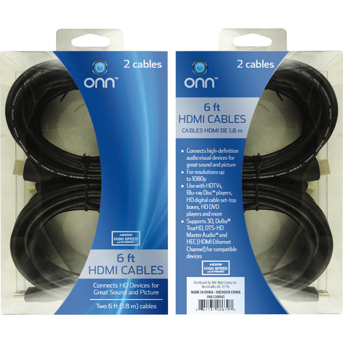 High Speed HDMI Cable with Ethernet, 2pk, 6'