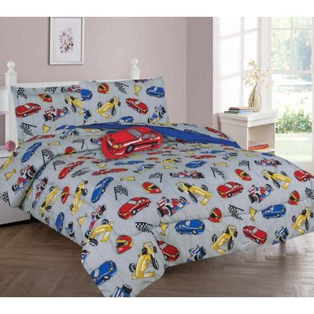 TWIN RACE CAR BOYS BEDDING SET, Beautiful Microfiber Comforter With Furry Friend and Sheet Set (6 Piece Kids Bed In A Bag)