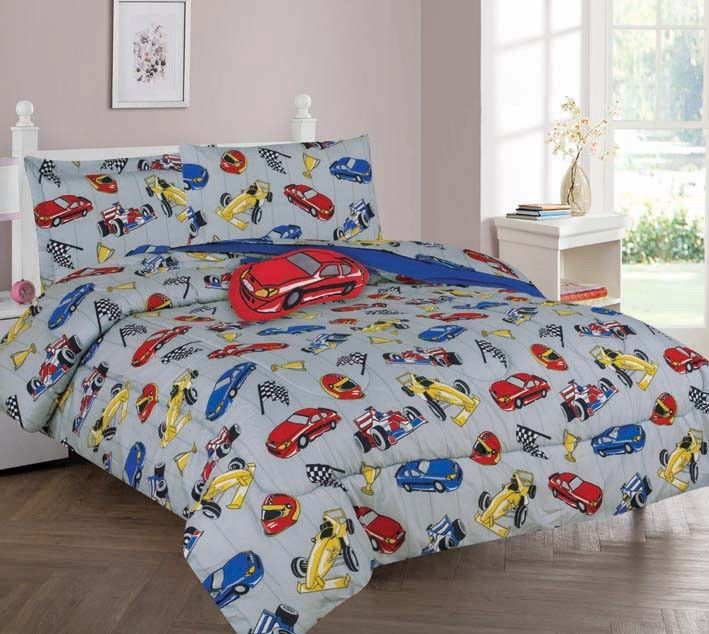 Nice TWIN RACE CAR BOYS BEDDING SET, Beautiful Microfiber Comforter With Furry  Friend And Sheet Set (6 Piece Kids Bed In A Bag)   Walmart.com