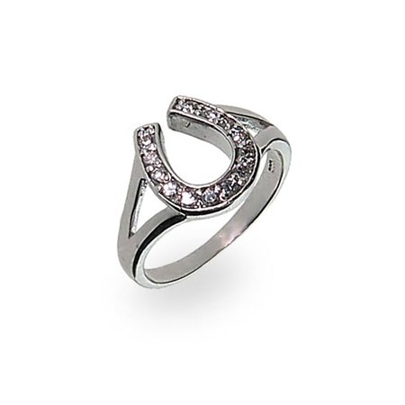 - Sterling Silver Cubic Zirconia Horseshoe Ring, Sizes 4 to 9