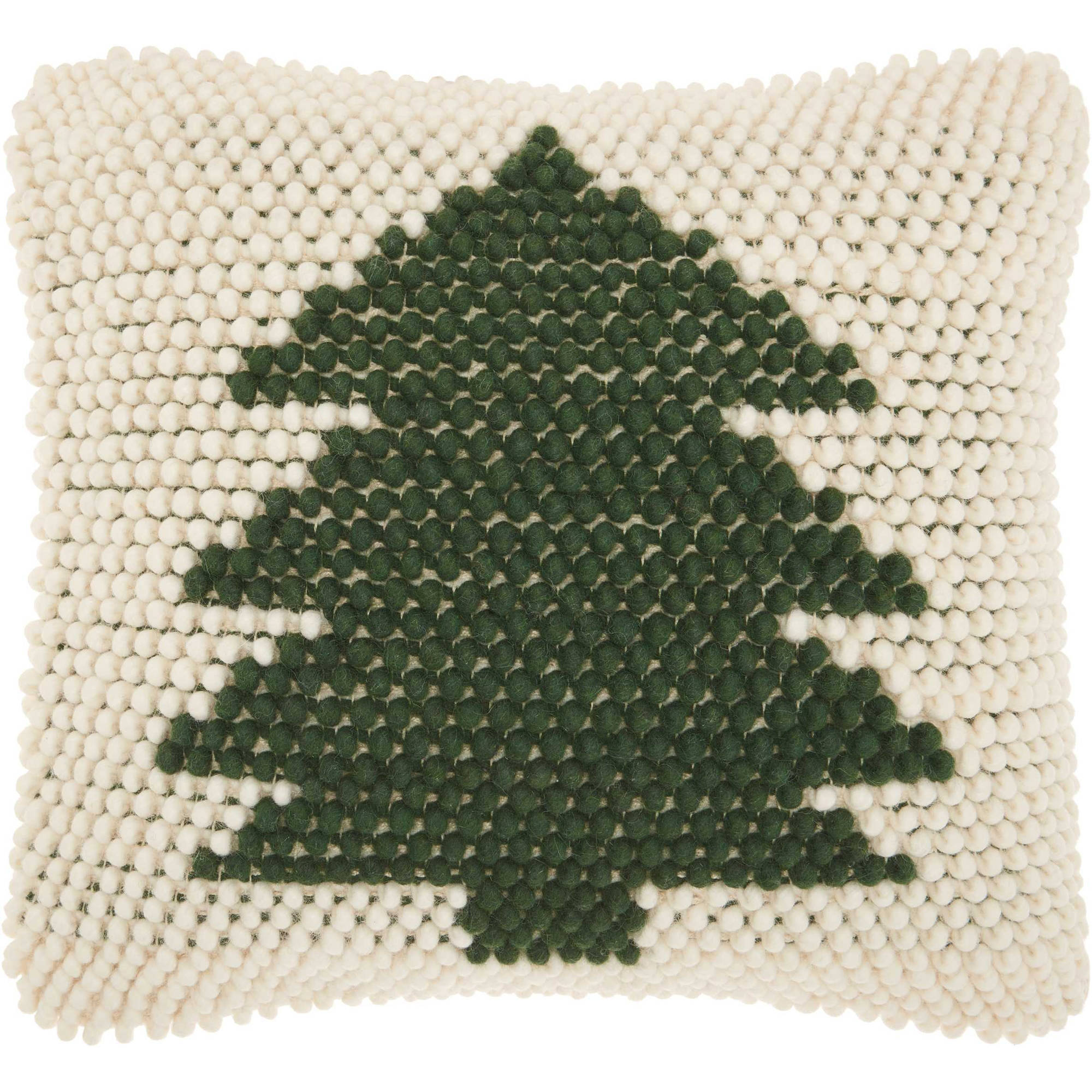 Nourison Home For The Holiday Christmas Tree Loops Throw Pillow, Green Ivory by Nourison