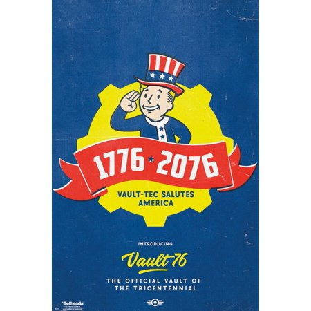 Fallout 76 - Gaming Poster / Print (300 Year Anniversary / Tricentennial - 1776-2076 - Vault-Boy) (Size: 24