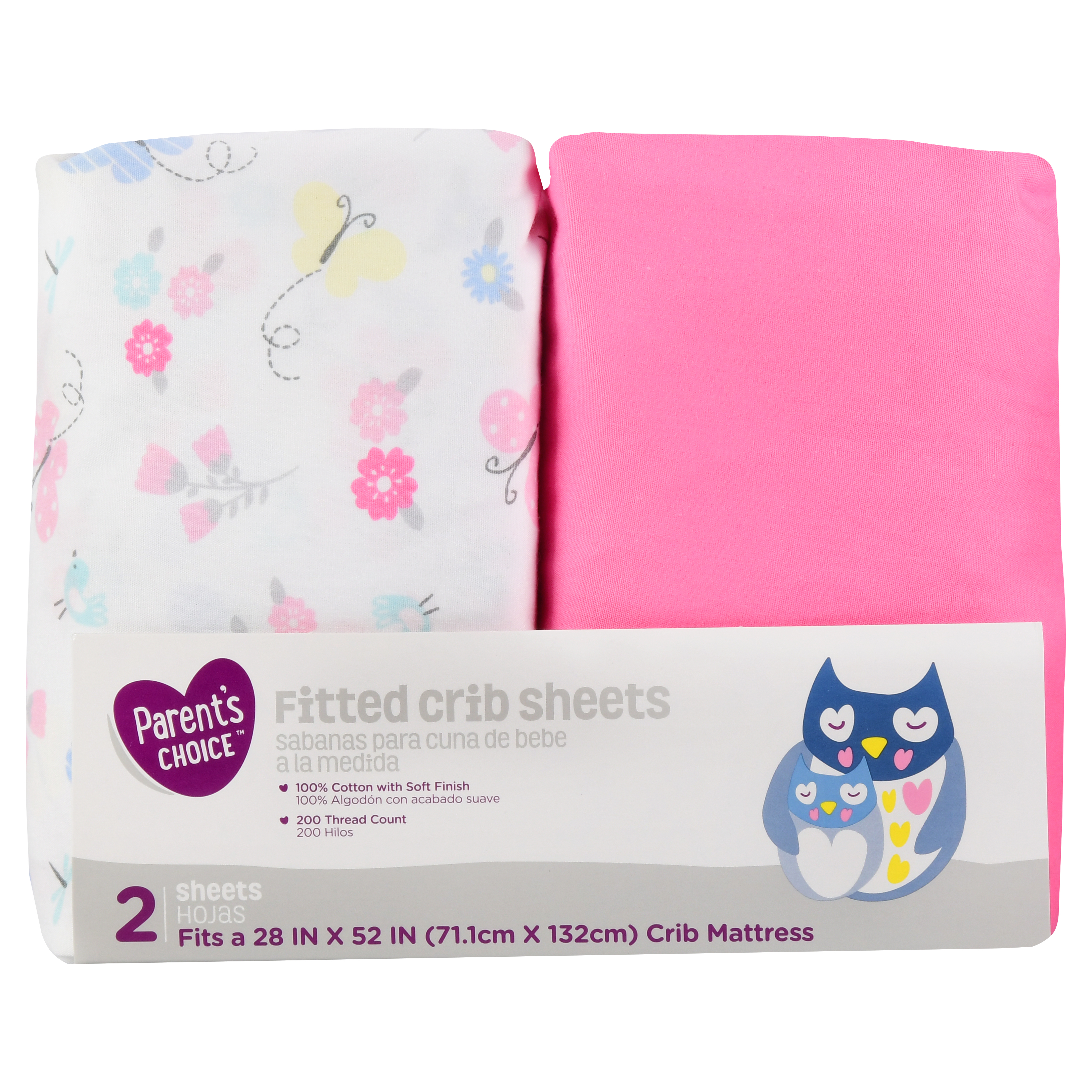 Parent's Choice Fitted Crib Sheets, Butterfly Print, 2 Pack