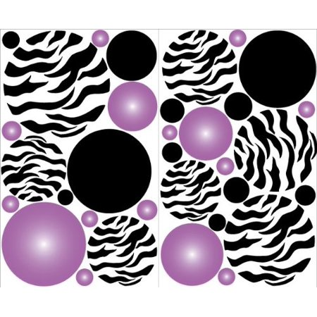 Purple Radial Zebra Print Dot Wall Decals Stickers / Zebra Print Polka Dots Wall - Purple Zebra Print