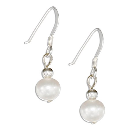 Pearl Wire Earrings - STERLING SILVER WHITE FRESH WATER CULTURED PEARL EARRINGS ON FRENCH WIRES