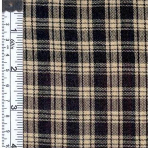 Textile Creations RW2139 Rustic Woven Fabric, Small Plaid Natural And Black, 15 yd.