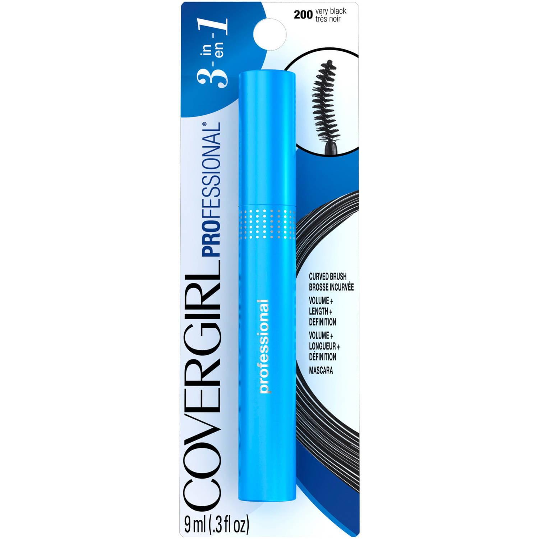 COVERGIRL Professional Mascara Curved Brush Very Black 200, 0.3 fl oz