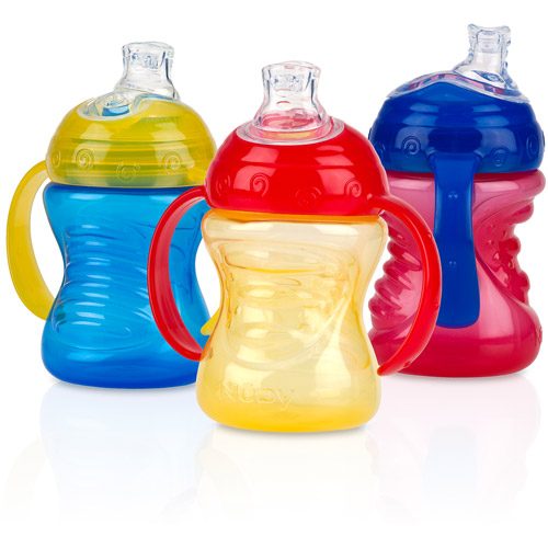 Nuby 3-Pack 8-oz 2 Handle Grip N' Sip Super Spout Trainer Cup, Boy, BPA-Free