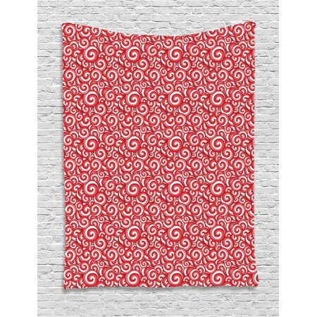 Candy Tapestry, Festive Spiral Motifs Pattern with Doodle Style Christmas Theme Illustration, Wall Hanging for Bedroom Living Room Dorm Decor, 40W X 60L Inches, Coral Ruby White, by Ambesonne