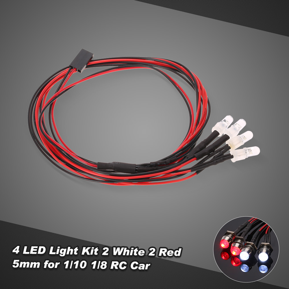4 LED Lights Kit 2 White /& Red for 1:10 1:8 Traxxas HSP Redcat RC Car Truck SUV