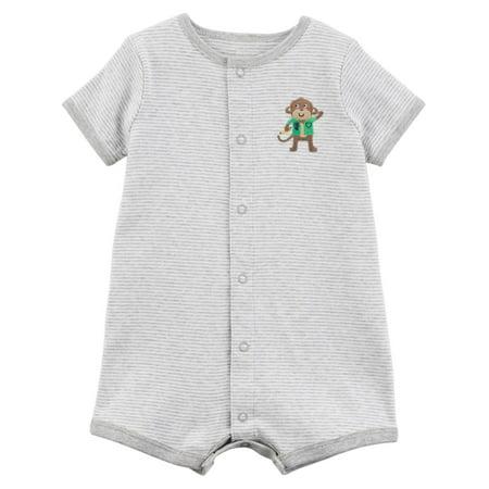 Carters Infant Boys Gray Stripe Monkey Romper Baby Bodysuit