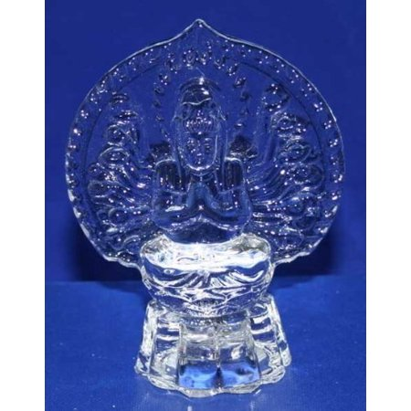 Crystal Glass Art Guan Yin Buddha Figurine W. Flashing Light