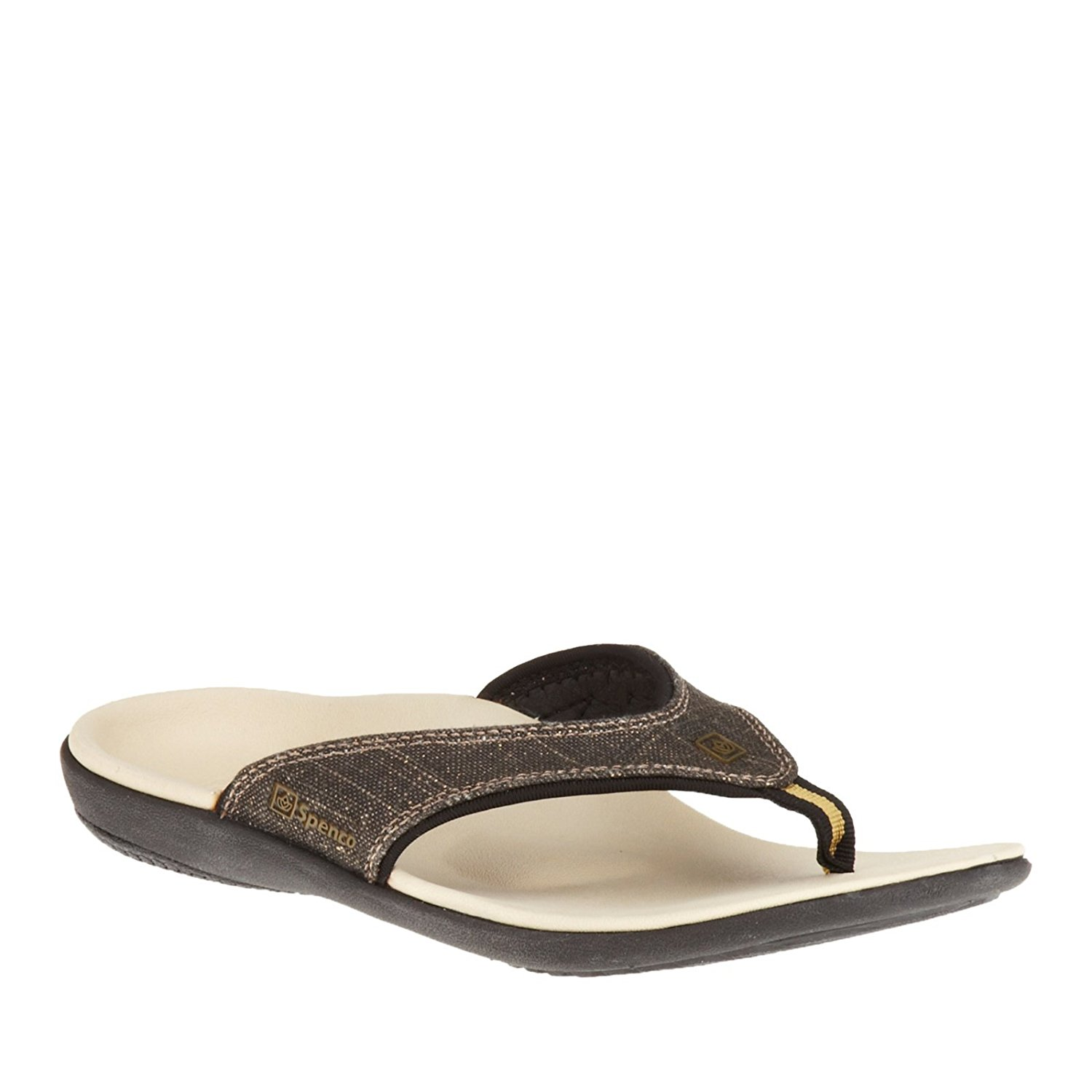 Spenco Yumi Black Gold Canvas Women's Total Support Thong Sandals, US 11