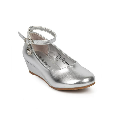 Ankle Strap Metallic Pumps (Little Angel DF11 Metallic Round Toe Ankle Strap Charm Wedge Pump (Toddler/ Little Girl/ Big Girl))
