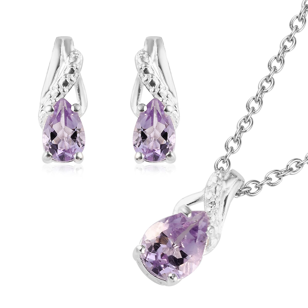 925 Sterling Silver Dangle Drop Earrings Chain Pendant Necklace Jewelry set For