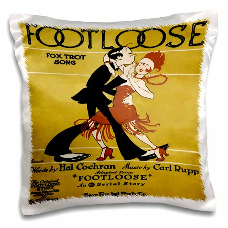 3dRose Footloose Fox Trot Song with 20s style Couple Dancing - Pillow Case, 16 by 16-inch (20s Dress Style)