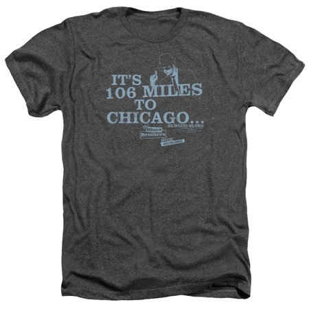 The Blues Brothers Chicago Mens Heather (Blues Brothers Miles To Chicago)