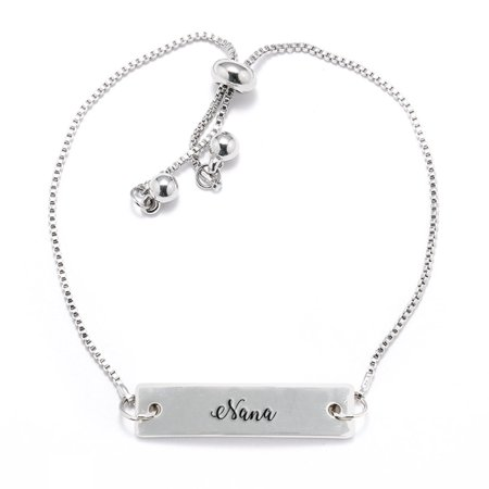 Nana Script Silver Bar Adjustable (Script Name Bracelet)