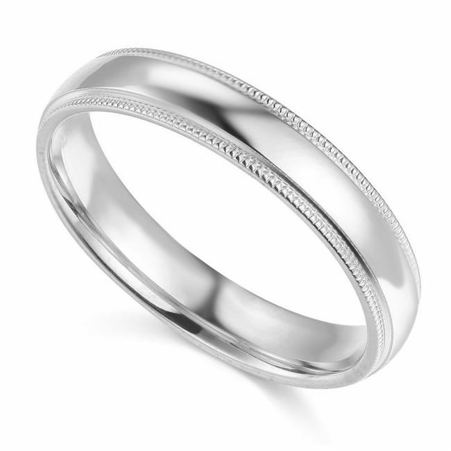 Precious Stars BMR-040W-8 Size 8 14K White Gold 4 mm Standard-Fit Milgrain & Polished Wedding Band - image 1 of 1
