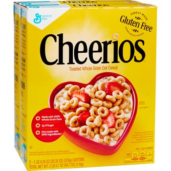 (Cheerios Toasted Whole Grain Oat Cereal, 20.35 oz Box (Pack of 2, Total 40.7 ounces) Special Buy)
