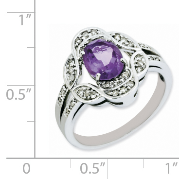 925 Sterling Silver Rhodium-plated Oval Amethyst and Diamond Ring - image 1 of 2