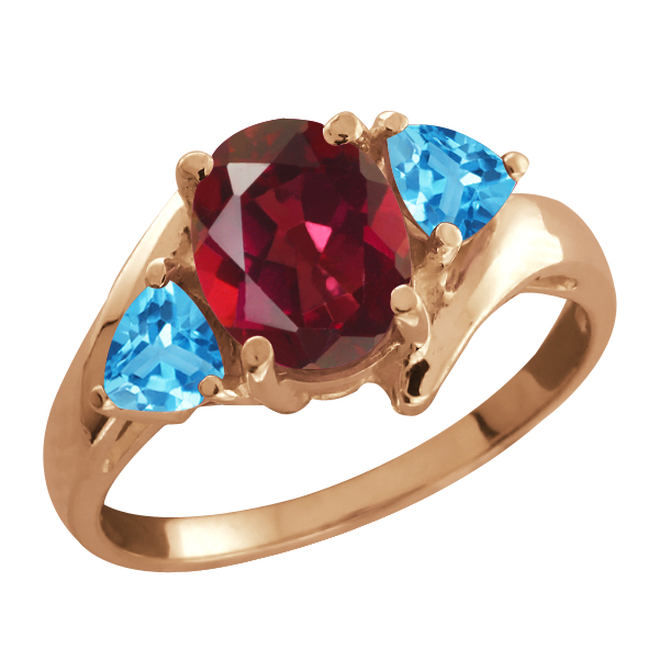 2.16 Ct Oval Red Mystic Topaz and Swiss Blue Topaz 18k Rose Gold Ring