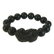 Feng Shui Black Obsidian Beaded Stone Bracelet with Pi Yao