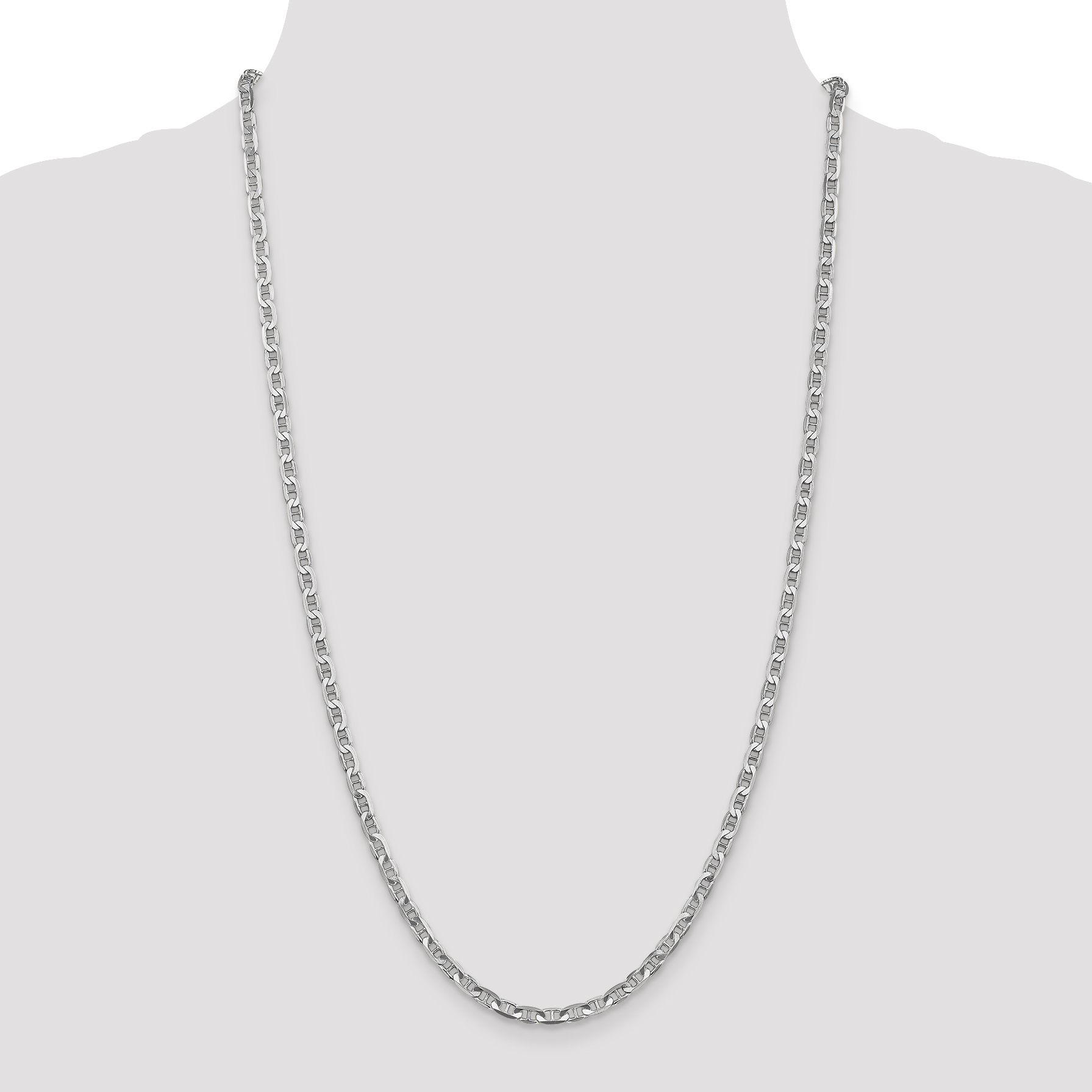 14K White Gold 3.75mm Concave Anchor Chain 24 Inch - image 4 of 5