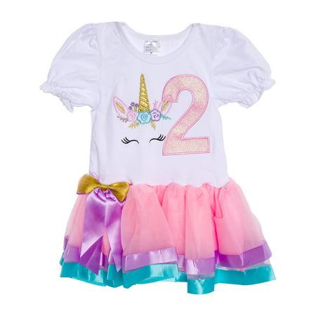 Silver Lilly Girls Pretty Unicorn Birthday Dress Outfit w/ Rainbow