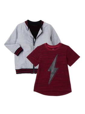Wonder Nation Baby Boy & Toddler Boy Bomber Jacket & T-Shirt Set, 2-Piece (12M-5T)