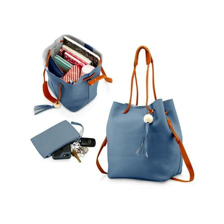 bee896fecdd0 Oct17 - Fashion Tassel buckets Tote Handbag Women Messenger Hobos Shoulder  Bags Crossbody Satchel Bag - Blue - Walmart.com