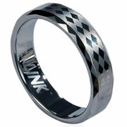 AAB Style RTS-15 Tungsten Carbide Ring with Laser-Made Diamoned-Shape Design