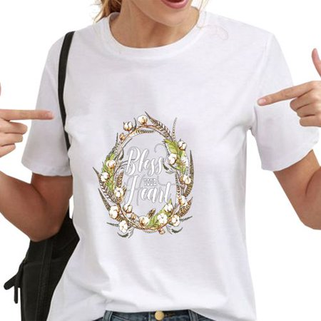 AkoaDa Women's Bless, Thanksgiving Short Sleeve T-Shirt Round Collar Personality Letter Garland Pattern Print T-Shirt Casual Top
