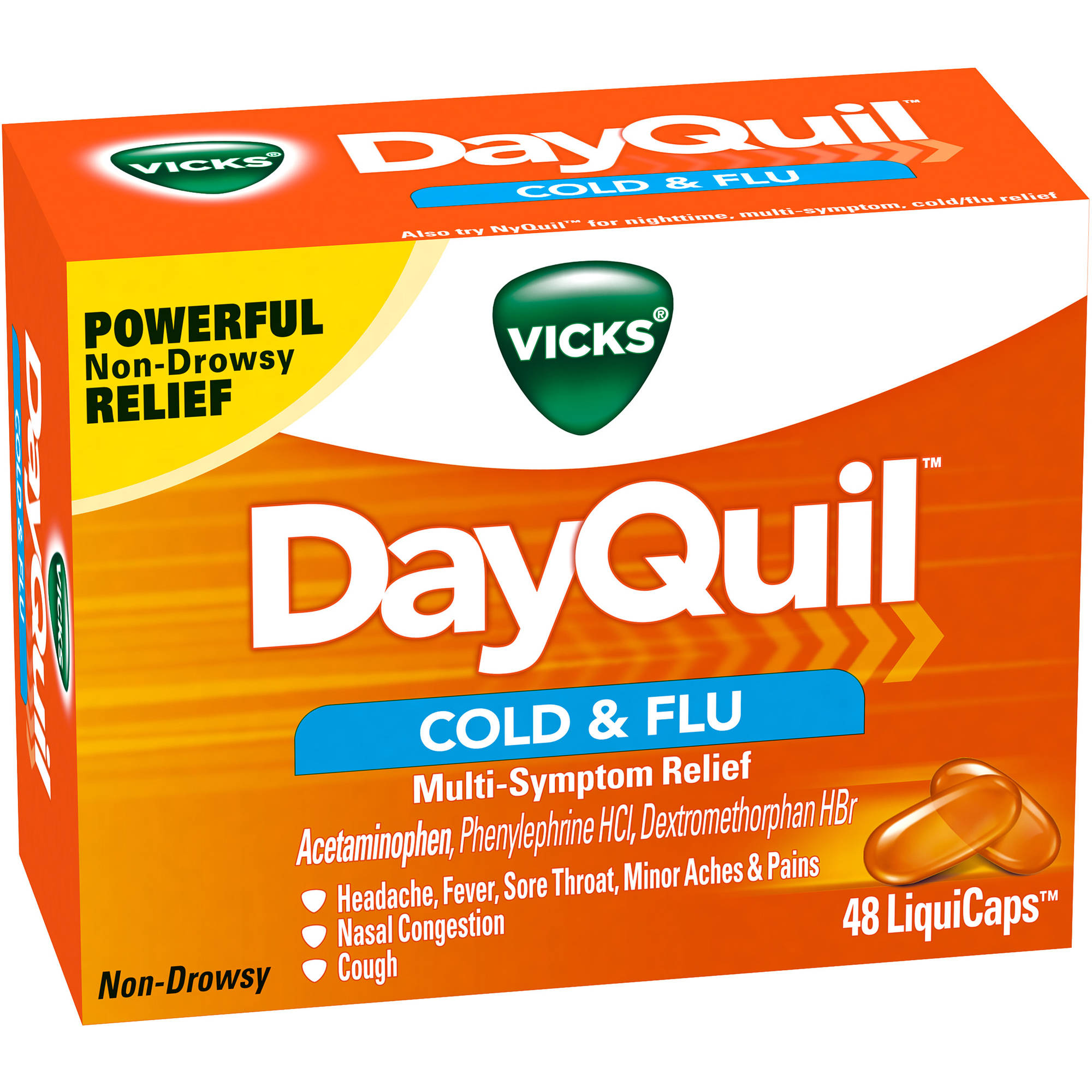 Vicks DayQuil Cold & Flu Multi-Symptom Relief LiquiCaps, 48 count
