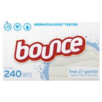 Bounce Dryer Sheets, Free & Gentle for Senstive Skin, 240 Count