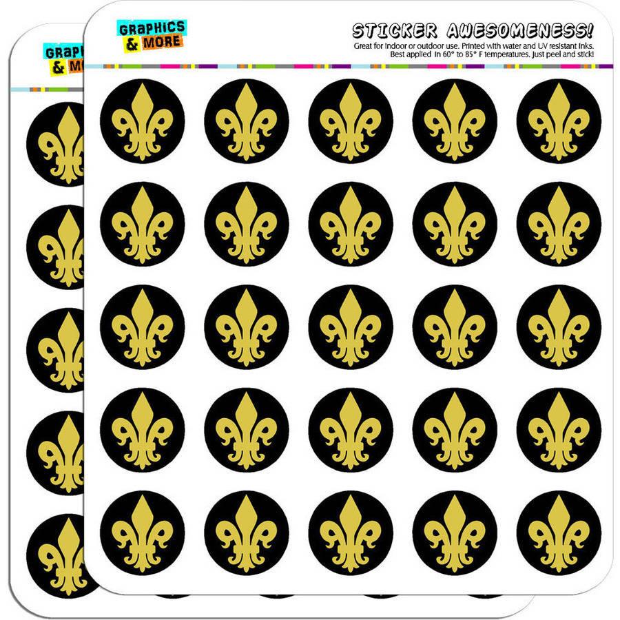 "Fleur de Lis Gold on Black 50 1"" Planner Calendar Scrapbooking Crafting Stickers"