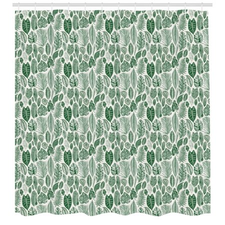 Botanical Shower Curtain Vintage Floral Pattern With Detailed Exotic Leaves From Different Trees Fabric