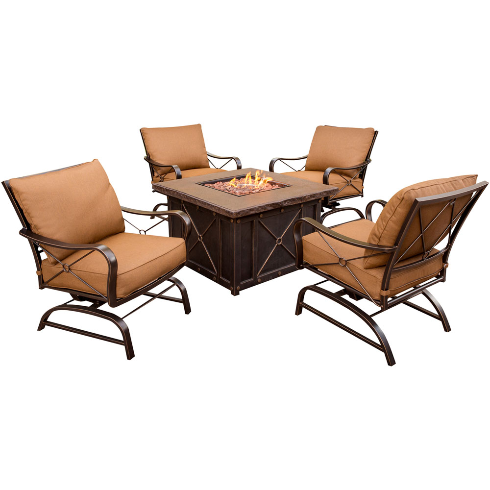 Hanover Outdoor Stone Harbor 5-Piece Firepit Lounge Set, Desert Sunset by Hanover Outdoor