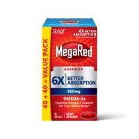 MegaRed Advanced 6x Better Absorption Omega-3 Fish Oil Softgels, 800 mg, 80 ct