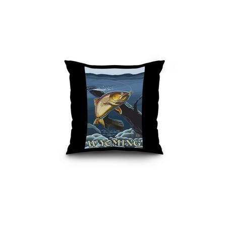 Trout Fishing Cross-Section - Wyoming - Lantern Press Artwork (16x16 Spun Polyester Pillow, Black