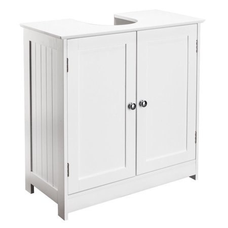 "GHP 23.6""x11.4""x23.6"" White MDF Moisture-Resistant Bathroom Sink Cabinet with 2 Doors"