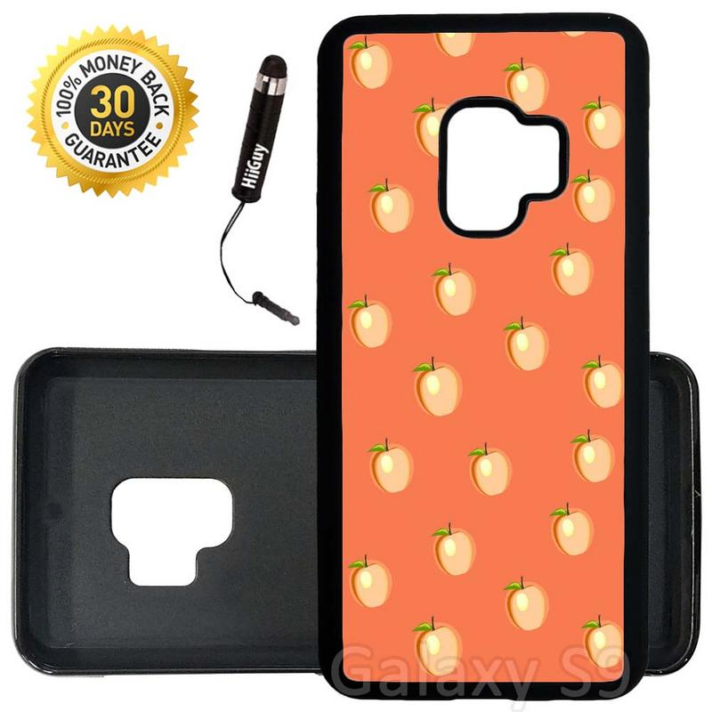 Custom Galaxy S9 Case (Cute Peach Pattern) Edge-to-Edge Rubber Black Cover Ultra Slim | Lightweight | Includes Stylus Pen by Innosub