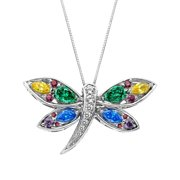 3 7/8 ct Enhanced Rainbow Topaz Dragonfly Pendant Necklace in Sterling Silver