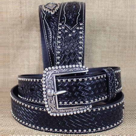 36 in m&f western ariat sands black mens leather belt basket weave w/ concho