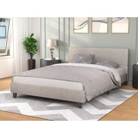 Mecor Upholstered Linen Platform Bed Frame - Queen Bed Frame with Wooden Slats Support - No Box Spring Needed, Mattress Foundation for Adults Teens Children (Light Grey/Queen)