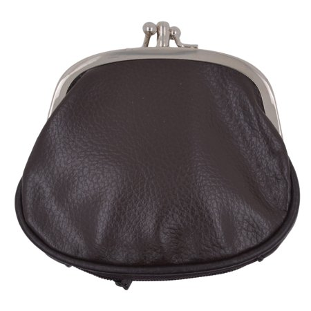 Double Frame Bag (Women's PU Leather Metal Frame Double Clasp Zipper Coin Change Purse )