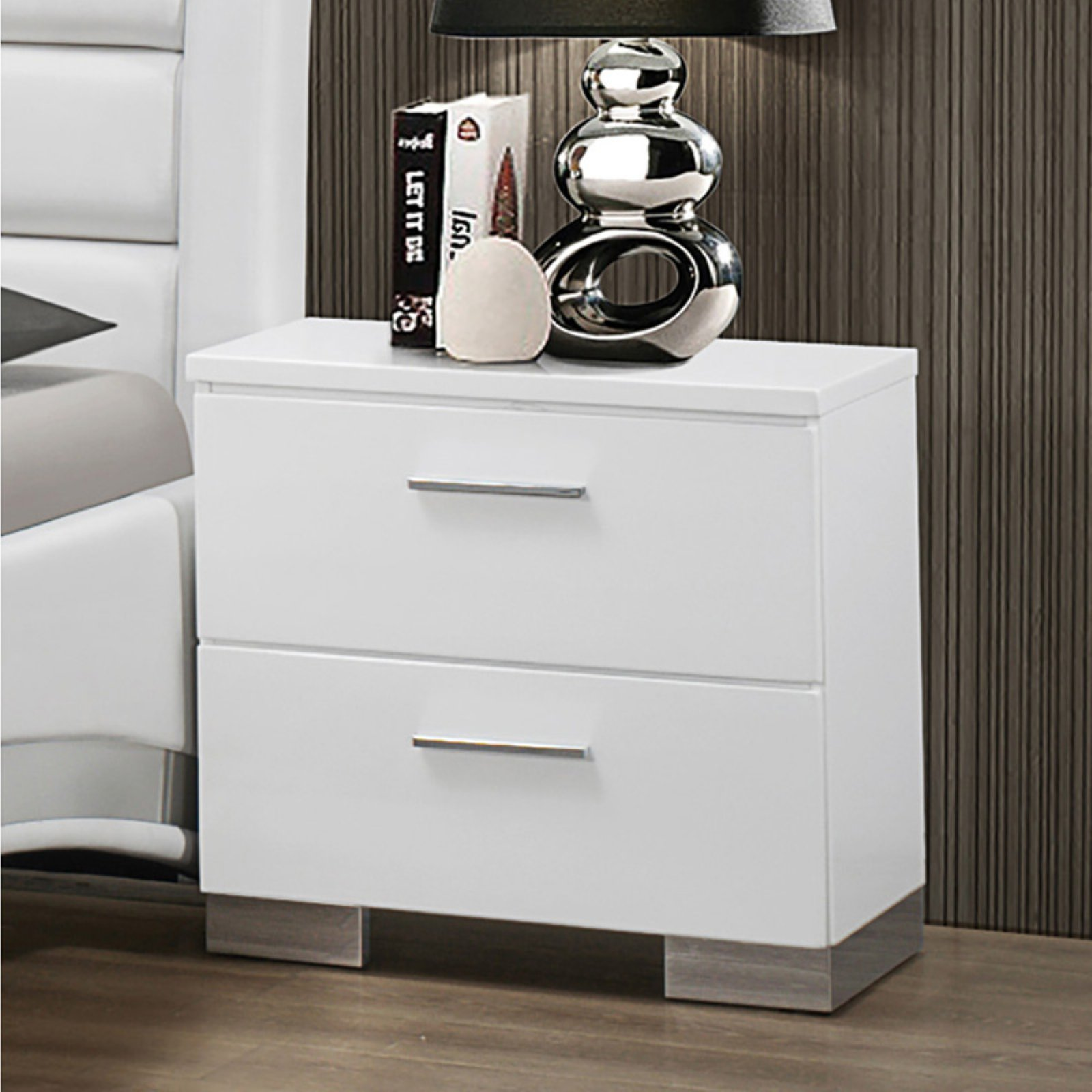 Coaster Company Felicity Collection Nightstand, Glossy White